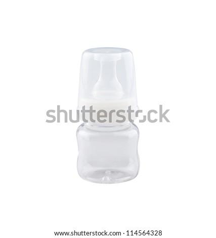 Empty baby bottle on white background - stock photo