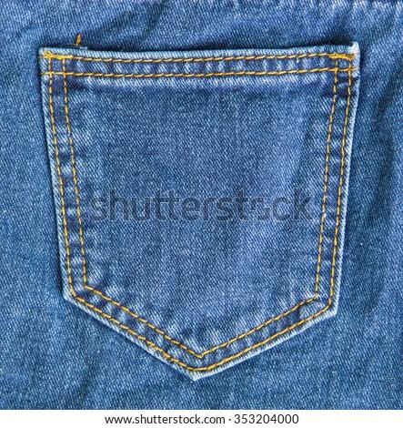 Empty back pocket of jeans - stock photo