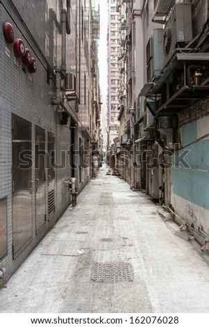 Empty backstreet in hong kong - stock photo