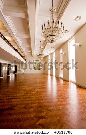 Empty Ballroom with Wooden Floor - stock photo