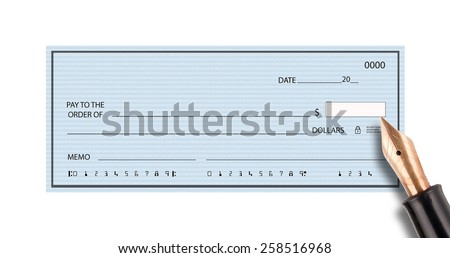 Empty bank check and pen on white background - stock photo