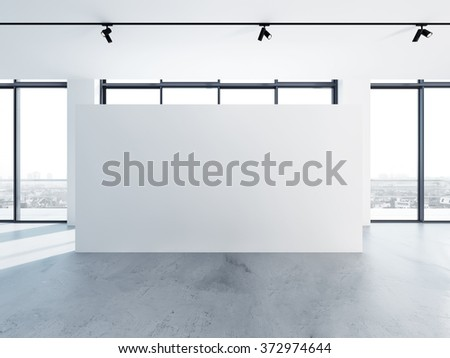Empty banner in clear white interior, modern minimalistic style. 3d render
