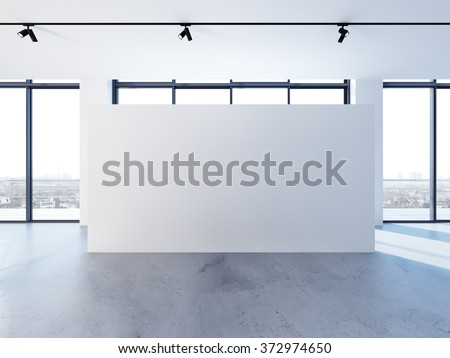 Empty banner in clear white interior with big windows, modern minimalistic style. 3d render - stock photo