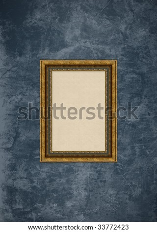 Empty baroque picture frame with copyspace on a grunge grey stucco wall - stock photo