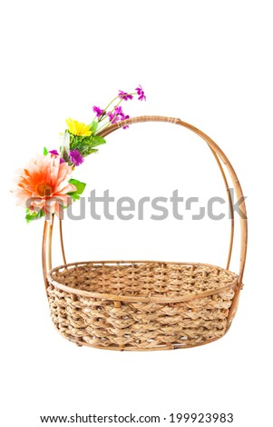 Empty Basket With Flowers On A White Background