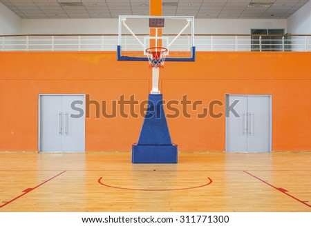 Empty basketball court - stock photo