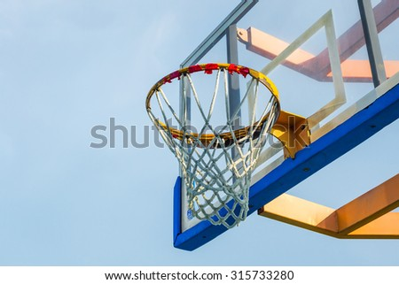 empty basketball hoop in blue sky.