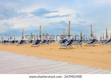 Empty beach at Bibione. Italy. - stock photo