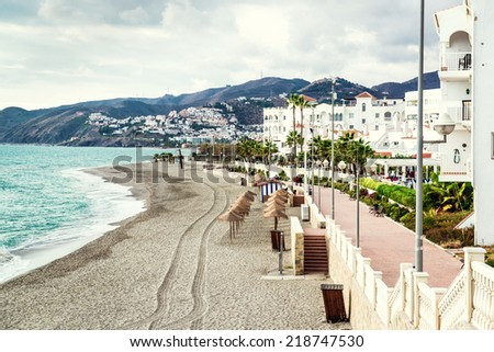 Empty beach. Nerja, Spain - stock photo