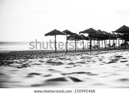 Empty beach with sand dunes and sun umbrellas - stock photo