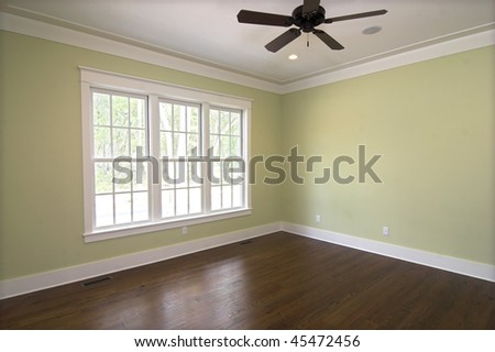 empty bedroom with windows, place your own furniture - stock photo
