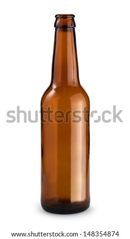 Empty beer bottle. Isolated with clipping path - stock photo