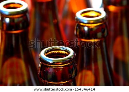 empty beer bottles - stock photo