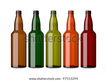 Empty beer bottles without caps, on a white background. - stock photo