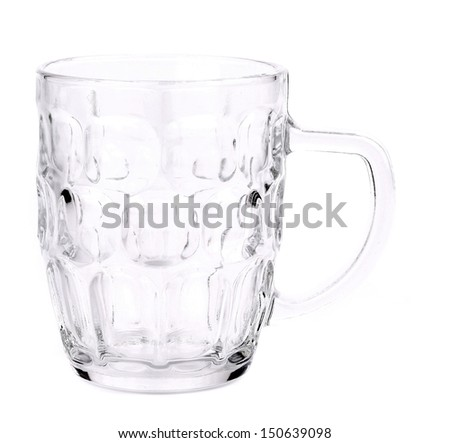 Empty beer glass. Close up. White background. - stock photo