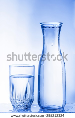 Empty beer glass. Isolated on blue background