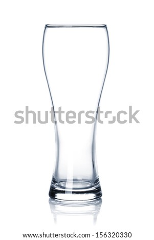 Empty beer glass. Isolated on white background - stock photo