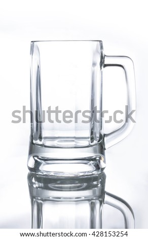 Empty beer glass Isolated on white background - stock photo