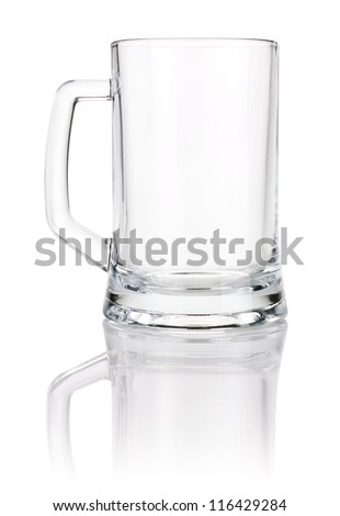 Empty beer mug isolated on white background - stock photo