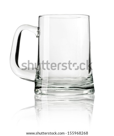 Empty beer mug isolated on white background with clipping path - stock photo