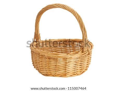 Empty beige wicker basket on a white background - stock photo