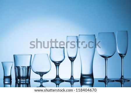 Empty beverage glasses - stock photo