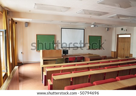 Empty big classroom at institute of higher education - stock photo