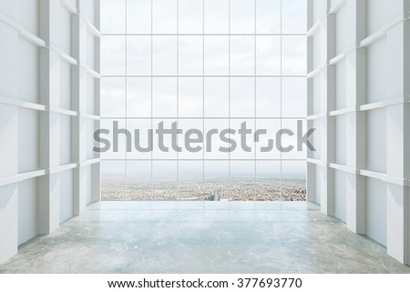 Empty big hall interior 3D Render - stock photo