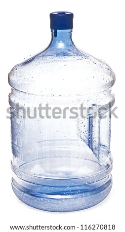 empty big plastic bottle for potable water isolated on a white background - stock photo