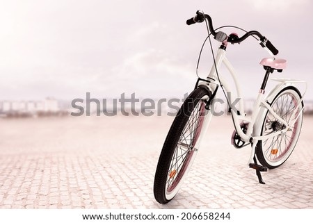 empty bike on the street  - stock photo