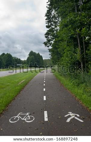 empty bike path  - stock photo
