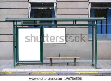 Empty billboard at Bus station - Perfect angle for your add - stock photo