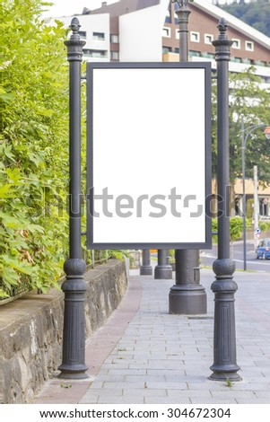Empty billboard at city bus station - stock photo
