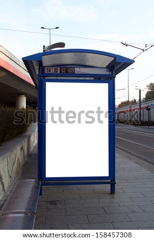 empty billboard at tram stop - stock photo
