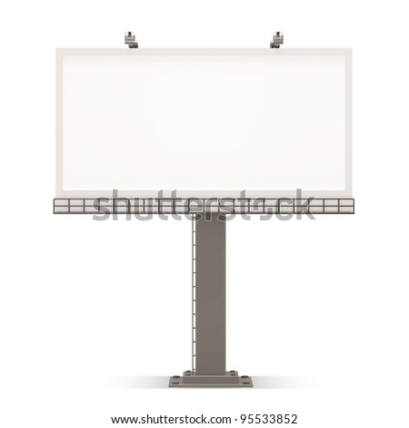 Empty Billboard Blank on white background - stock photo