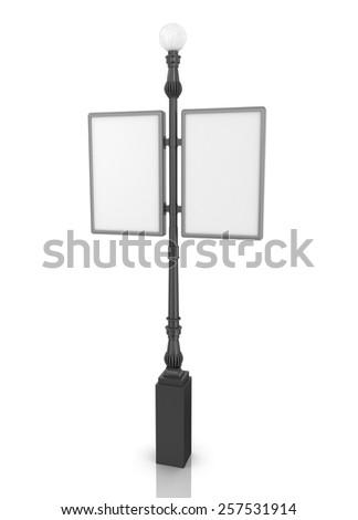 Empty billboard on white background - stock photo