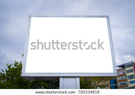 Empty billboard screen on the old street