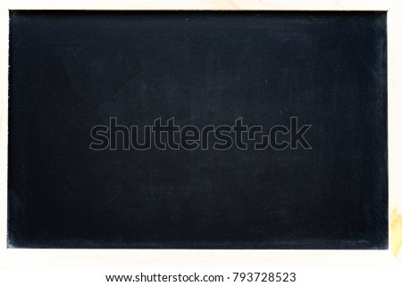 empty black chalkboard with wood border for text design background