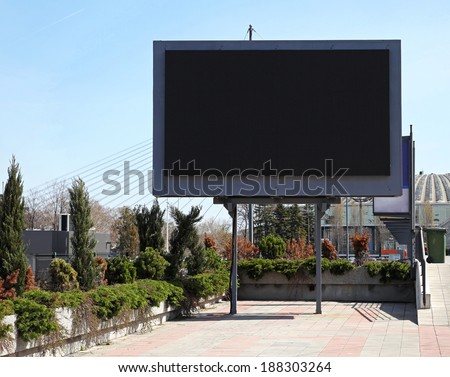 Empty black digital billboard screen for advertising - stock photo