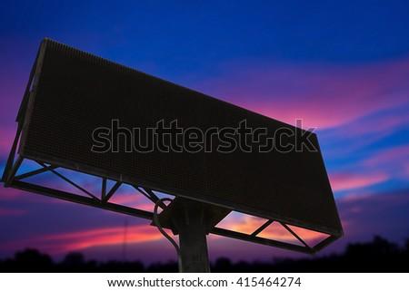 Empty black digital billboard screen for advertising.Advertising wall on sky - stock photo