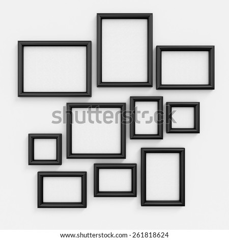 Empty black frameworks of the different size for pictures and photos on a wall. 3d illustration. - stock photo