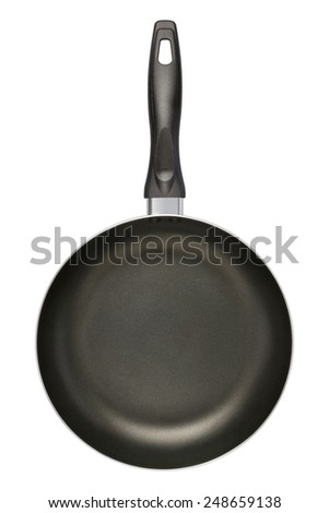 Empty Black Frying Pan isolated on white with a clipping path.  - stock photo