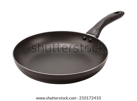 Empty Black Frying Pan isolated on white with a clipping path. The image is in full focus, front to back. - stock photo