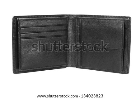 Empty Black Leather Wallet on White Background