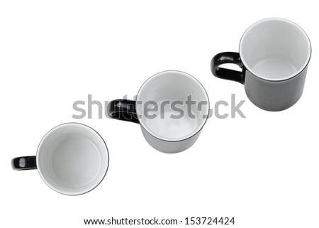 empty black round coffee cup with white inside in top view - stock photo