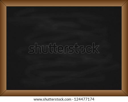 Empty black school chalkboard, with wooden frame, illustration - stock photo