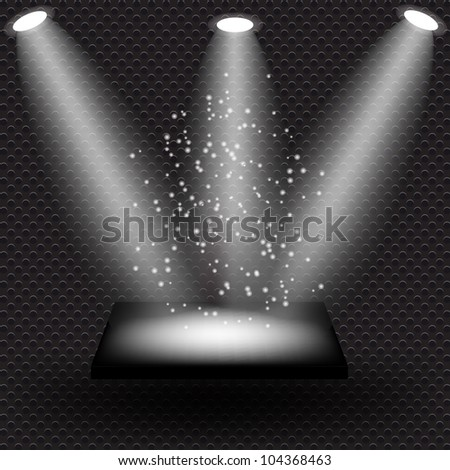 Empty black shelve on metal background with lights.