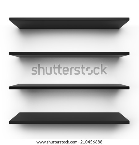 Empty black shelves isolated on clean white background. - stock photo