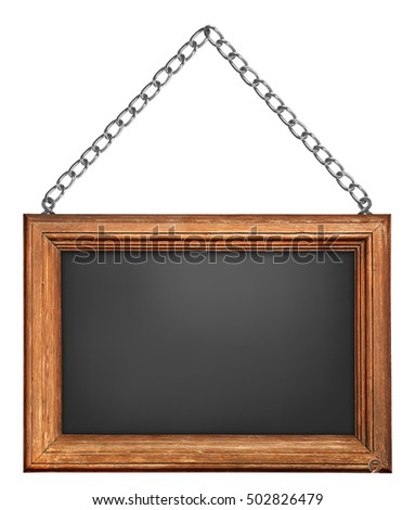 Empty Blackboard Wooden Frame Chain On Stock Photo (Safe to Use ...