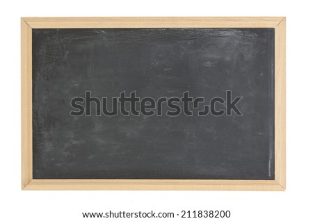 empty blackboard with wooden frame. Black chalkboard background with great texture and scratches - stock photo